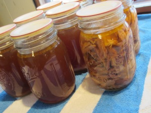 6 pints canned chicken broth & 2 pints canned chicken (*All jars canned according to Ball Blue Book Guidelines)